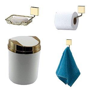 Kit 4 Peças Banheiro Lixeira + Papeleira + Cabide Toalha + Saboneteira Dourado - Future - Branco
