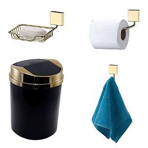 Kit 4 Peças Banheiro Lixeira + Papeleira + Cabide Toalha + Saboneteira Dourado - Future - Preto