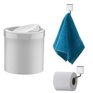 Kit Banheiro Inox Gancho Porta Toalha + Papeleira + Lixeira Basculante 5l - Future - Branco