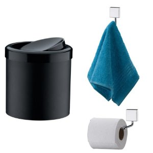 Kit Banheiro Inox Gancho Porta Toalha + Papeleira + Lixeira Basculante 5l - Future - Preto