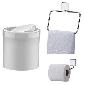 Kit Banheiro Inox Porta Toalha Argola + Papeleira + Lixeira Basculante 5l - Future - Branco