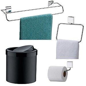 Kit Banheiro Inox Toalheiro + Porta Toalha Argola + Papeleira + Lixeira Basculante - Future - Preto