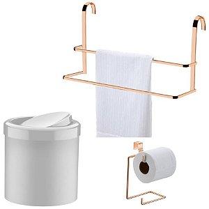 Kit Banheiro Rosé Gold Toalheiro Box + Porta Papel Higiênico + Lixeira Basculante - Future - Branco