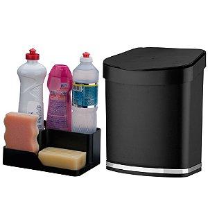 Kit Cozinha Porta Detergente Esponja Sabão + Lixeira 2,5 Litros Pia - Future - Preto