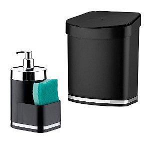 Kit Dispensador Para Detergente + Lixeira Eleganza - 1254 Future - Preto