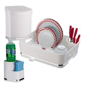 Kit Escorredor de Louças + Lixeira + Porta Detergente e Esponja - 1251 Future - Branco