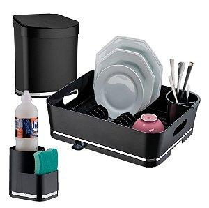 Kit Escorredor de Louças + Lixeira + Porta Detergente e Esponja - 1251 Future - Preto