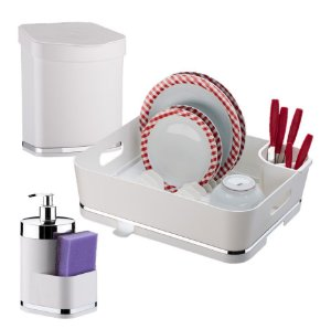 Kit Escorredor Louças + Lixeira + Dispensador Detergente - 1251 Future - Branco