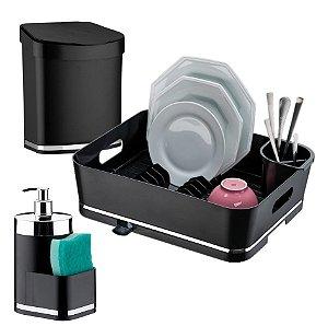 Kit Escorredor Louças + Lixeira + Dispensador Detergente - 1251 Future - Preto