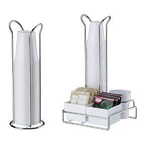 Kit Porta Copos Saches Mexedor+ Suporte Copos 200ml - 1151 Cromado Future - Cromado/Branco