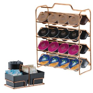 Kit suporte 32 Cápsulas Dolce Gusto + Porta Sachês - 1145RG Rosé Gold Future - Preto