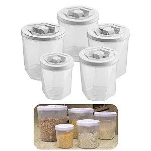 Kit 5 Pote Porta Mantimento Alimento Com Tampa Cozinha Armário - UZ284 Uz - Branco