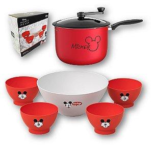 Kit Pipoqueira 5,5L Alumínio Antiaderente + Tigela Para Pipoca + 4 Potes Cumbuca Mickey Disney - Coza - Vermelho