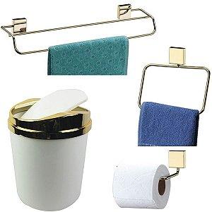 Kit 4 Peças Banheiro Lixeira + Papeleira + Toalheiro Duplo + Argola Dourado - Future - Branco