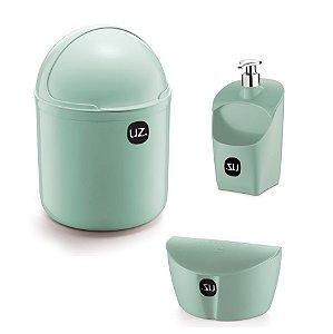 Kit Cozinha Lixeira 4 L Tampa Capacete + Dispenser Porta Detergente + Saleiro - Uz - Verde Menta