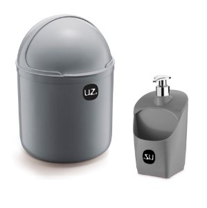 Kit Cozinha Lixeira 4 L Tampa Capacete + Dispenser Porta Detergente Esponja - Uz - Cinza