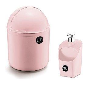 Kit Cozinha Lixeira 4 L Tampa Capacete + Dispenser Porta Detergente Esponja - Uz - Rosa