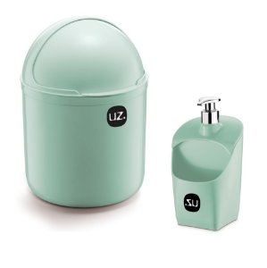 Kit Cozinha Lixeira 4 L Tampa Capacete + Dispenser Porta Detergente Esponja - Uz - Verde Menta