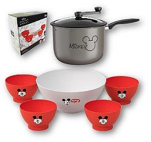 Kit Pipoqueira 5,5L Alumínio Antiaderente + Tigela Para Pipoca + 4 Potes Cumbuca Mickey Disney - Coza - Prata
