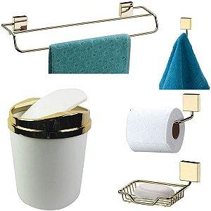 Kit 5 Peças Banheiro Lixeira + Papeleira + Toalheiro Duplo + Cabide + Saboneteira Dourado - Future - Branco