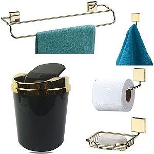 Kit 5 Peças Banheiro Lixeira + Papeleira + Toalheiro Duplo + Cabide + Saboneteira Dourado - Future - Preto