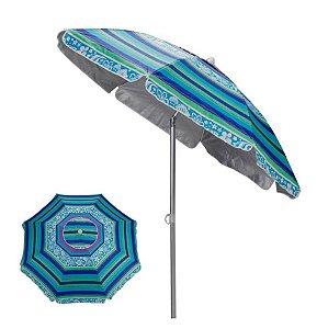 Guarda Sol Alumínio Articulado 2 Metros Sombreiro Praia Piscina - Mor - Azul Florido