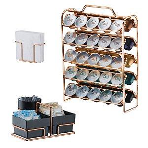 Kit Suporte 50 Cápsulas Nespresso + Porta Guardanapos + Suporte Sachês - 1147RG Rose Gold Future - Preto