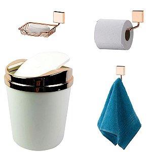 Kit 4 Peças Banheiro Lixeira + Papeleira + Cabide Toalha + Saboneteira Rosé Gold - Future - Branco