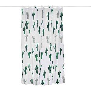 Cortina Box Banheiro 1,8x1,8m Infantil Gancho Poliéster Estampada - Mor - Cactus