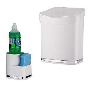 Kit Suporte Detergente e Esponja + Lixeira Eleganza - 1253 Future - Branco