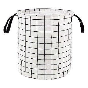 Cesto Organizador Multiuso 40l Grid Grande Flexível Roupas -  Mor - Branco
