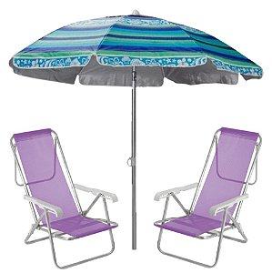 Kit Praia 2 Cadeira Reclinável 8 Posições Sannet + Guarda Sol 2m Sombreiro Alumínio - Mor - Azul Florido