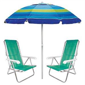 Kit Praia 2 Cadeira Reclinável 8 Posições Sannet + Guarda Sol 2m Sombreiro Alumínio - Mor - Azul Listrado