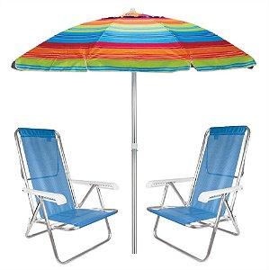Kit Praia 2 Cadeira Reclinável 8 Posições Sannet + Guarda Sol 2m Sombreiro Alumínio - Mor - Laranja Listrado