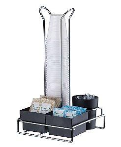 Organizador Copos Descartáveis 50/80ml Porta Sachês e Mexedor1151 - Future - Preto