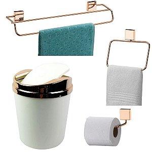 Kit 4 Peças Banheiro Lixeira + Papeleira + Toalheiro Duplo + Argola Rosé Gold - Future - Branco