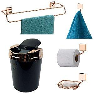 Kit 5 Peças Banheiro Lixeira + Papeleira + Toalheiro Duplo + Cabide + Saboneteira Rosé Gold - Future - Preto