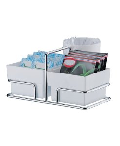 Porta Sachês de Açúcar Adoçante Chá Mexedor Organizador Cromado - 1156 Future - Branco