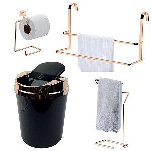 Kit 4 Peças Banheiro Lixeira + Papeleira + Toalheiro Duplo Box e Bancada Rosé Gold - Future - Preto