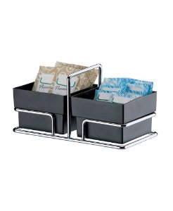 Porta Sachês de Açúcar Adoçante Chá Organizador Cromado - 1154 Future - Preto