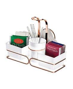 Porta Sachês Para Chá Café Mexedores Guardanapos Rosé Gold 2247rg e 2251rg - Future - Branco