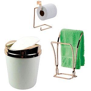 Kit Banheiro Porta Toalha + Suporte Papel Higiênico + Lixeira Rose Gold - Future - Branco