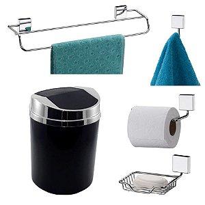 Kit 5 Peças Banheiro Lixeira + Papeleira + Toalheiro Duplo + Cabide + Saboneteira Cromado - Future - Preto