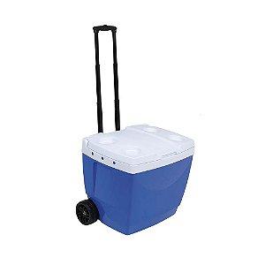Caixa Térmica 42 Litros Com Rodas E Alça Transporte Bebidas - Mor - Azul