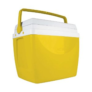 Caixa Térmica Cooler 34 L Com Alça Porta Copos Bebidas Alimentos - Mor - Amarelo