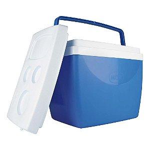 Caixa Térmica Cooler 34 L Com Alça Porta Copos Bebidas Alimentos - Mor - Azul