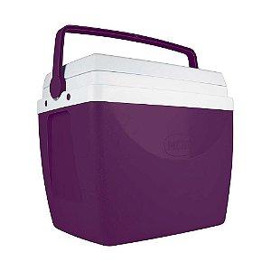 Caixa Térmica Cooler 34 L Com Alça Porta Copos Bebidas Alimentos - Mor - Beringela
