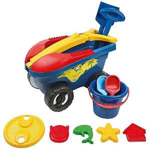 Cargo Brinquedo Praia Com 11 Peças Carrinho Balde Pá - Mor - Azul