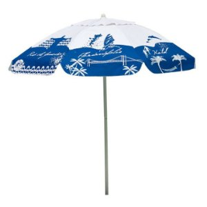 Guarda Sol Bagum 1,80 M Alumínio Praia Piscina Camping Listras Fashion - 3743 Mor - Azul