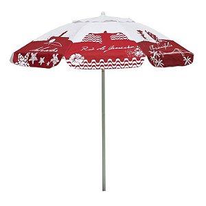 Guarda Sol Bagum 1,80 M Alumínio Praia Piscina Camping Listras Fashion - 3743 Mor - Vermelho